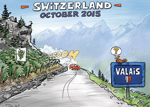 Illustration of the Alchemists' Story, first slide, car ride in Switzerland