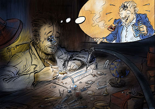 Illustration of the Alchemists' Story, tenth slide, Hervé working hard to master Philippe Dufour's traditional watchmaking techniques