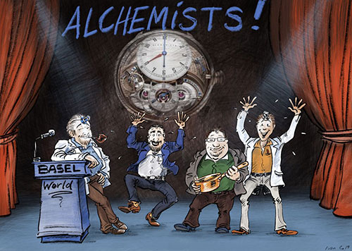 Illustration of the Alchemists' Story, thirteenth slide, Fabrice, Hervé, Denis and Philippe on stage at Baselworld 2019, presenting the Cu29