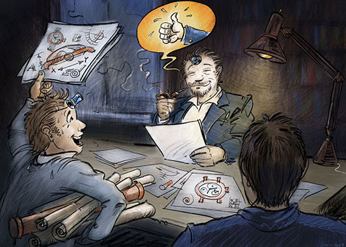 Illustration of the Alchemists' Story, eighth slide, Fabrice and Hervé receiving approval from Philippe Dufour